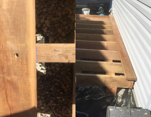 Installing the first deck board on a floating deck