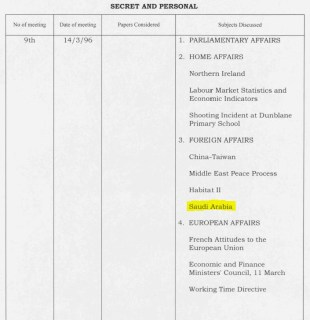 Newly declassified UK cabinet papers from 1996 show British ministers discussed Saudi Arabia on 14 March of that year. [CAB 128/117]