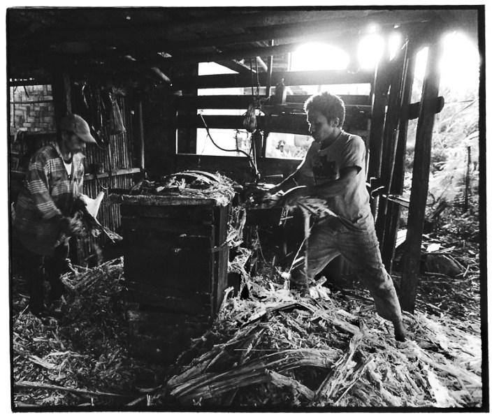 Pressage des cannes mécaniques, Asie du Sud-Est, photo noir et blanc, Jean-Pierre Devals