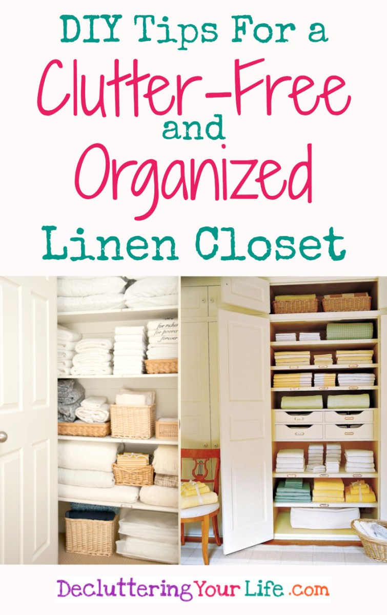 Linen closet organization tips, ideas, and pictures.  DIY idea for a clutter-free and organized linen closet in your home