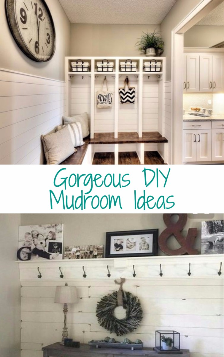 Beautiful DIY mudroom ideas to keep your foyer or entryway (or laundry room or kitchen) decluttered and organized.  LOVE all these mud rooms!