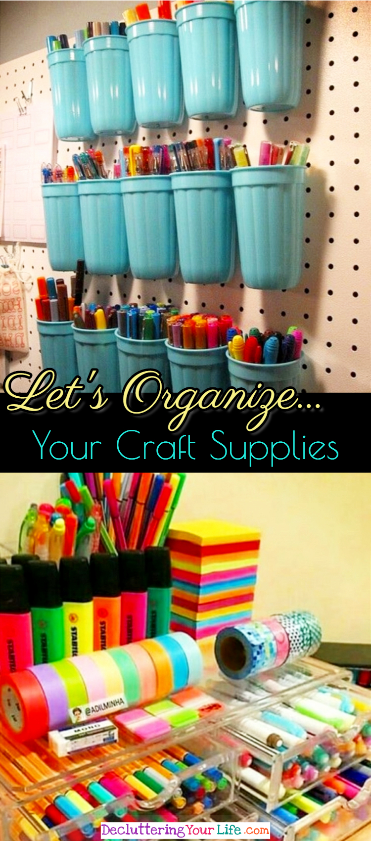 Best DIY Craft Room Organizing Ideas on Pinterest - easy, unique and unexpected ideas for organizing your craft supplies in your craftroom