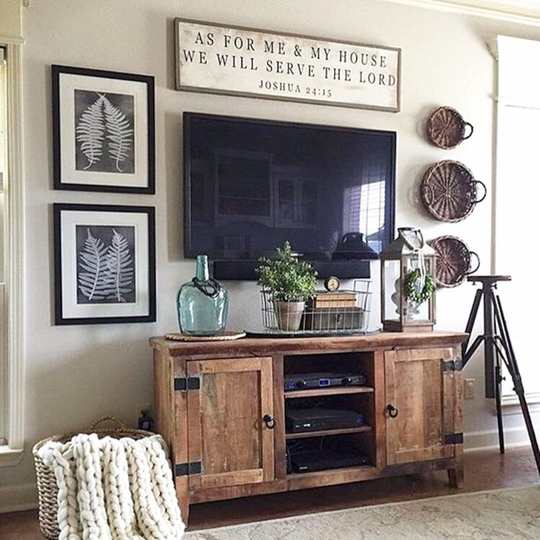 Rustic Farmhouse Decorating Idea Around Tv In Living Room. Love This Simple  Diy Gallery Wall