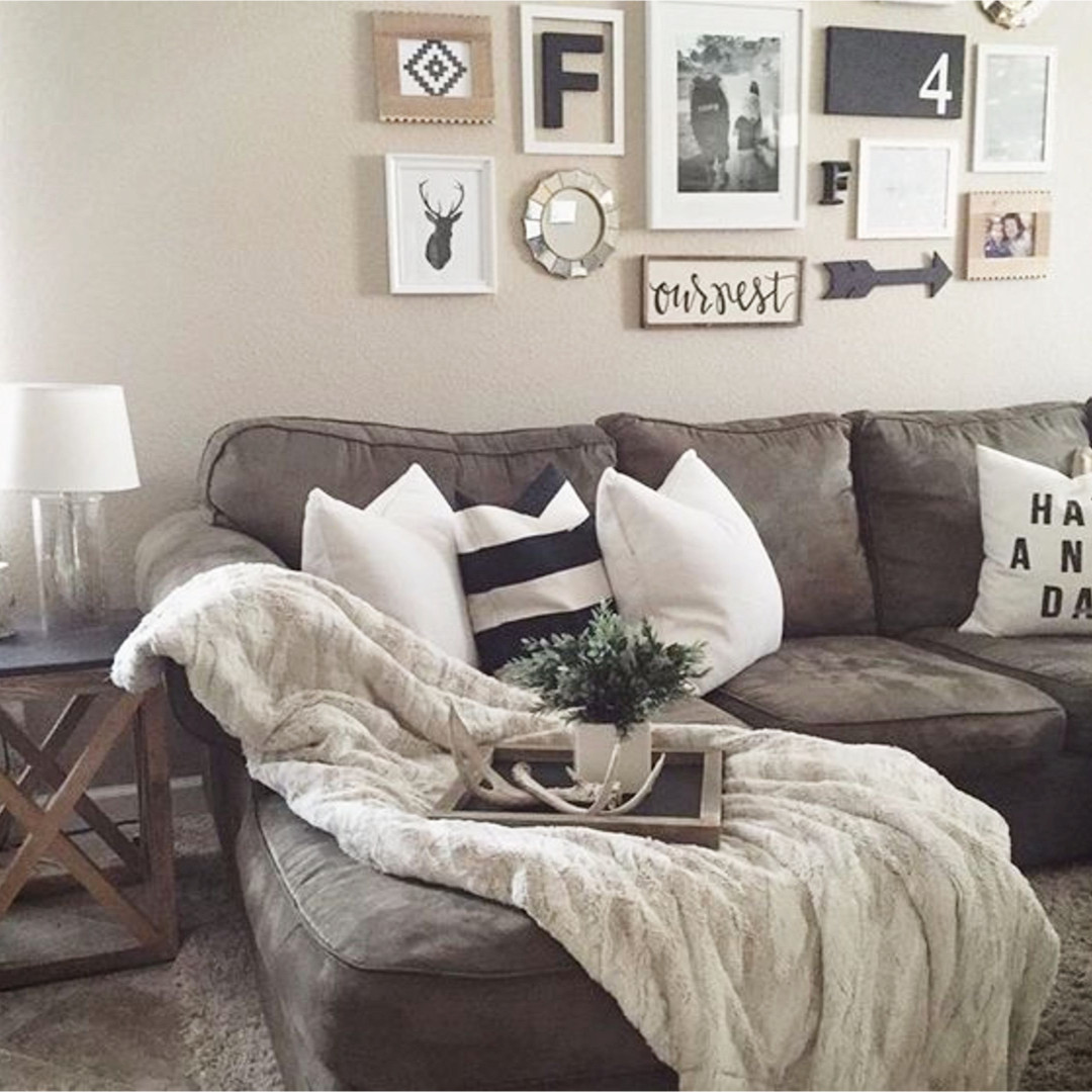 Beautiful Neutral Living Room With Rustic Farmhouse Decor   And LOVE That Accent  Wall Over The