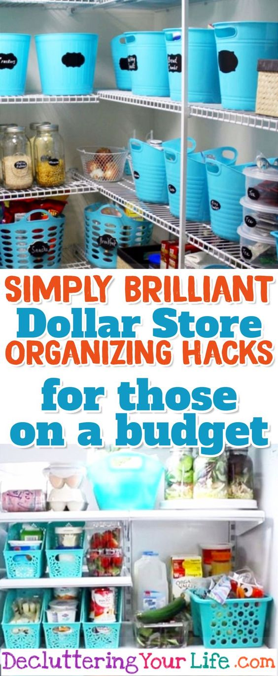 Dollar Store Organizing Hacks for those on a budget -works for Dollar General & Dollar Tree too #organizationideasforthehome #organizationdiy #organizingideas #organizationhacks #getorganized #gettingorganized #lifehacks
