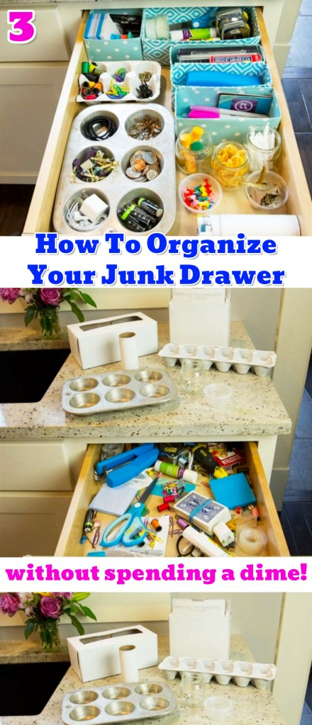 Junk Drawer Organizer DIY Ideas - Such Smart and EASY Diy Ideas For organizing the Junk Drawer in Your Kitchen or Office