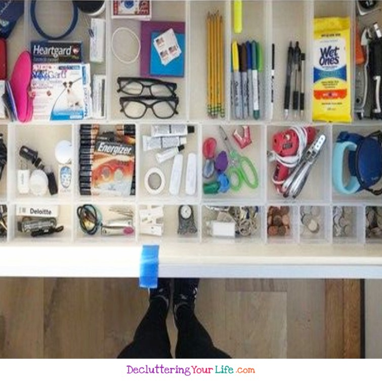 The Ultimate Organized Junk Drawer!  This is MY goal to get my junk drawer and kitchen junk drawer organized like this!