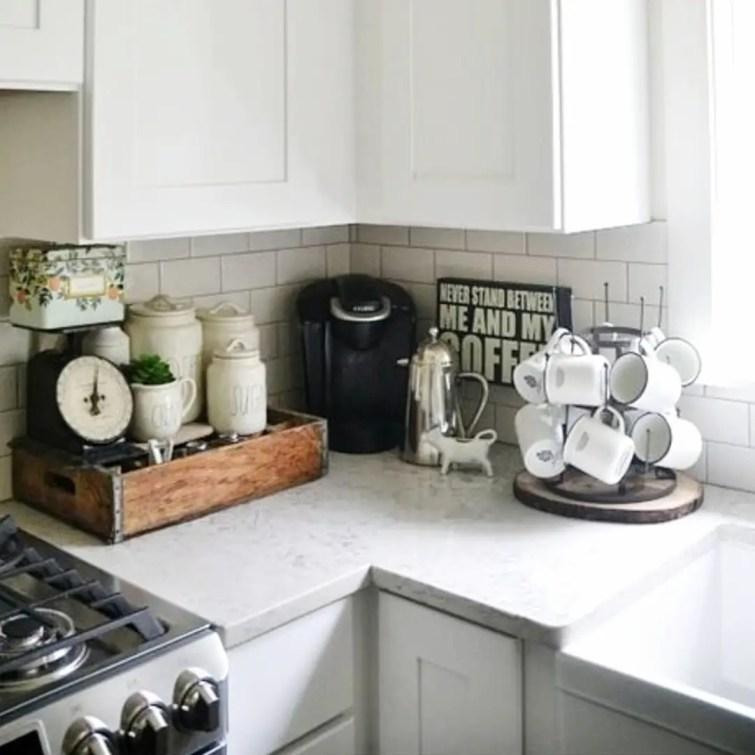 Corner coffee area on my kitchen counter