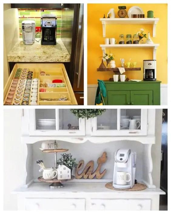 Easy DIY kitchen coffee area design ideas for a tiny kitchen
