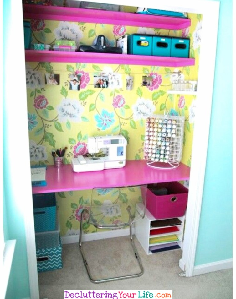 Craft Room Ideas Pictures and DIY Solutions - Creating a Craft Room When Your Have No Space - Craft Room Organizing Ideas #gettingorganized #goals #organizationideasforthehome