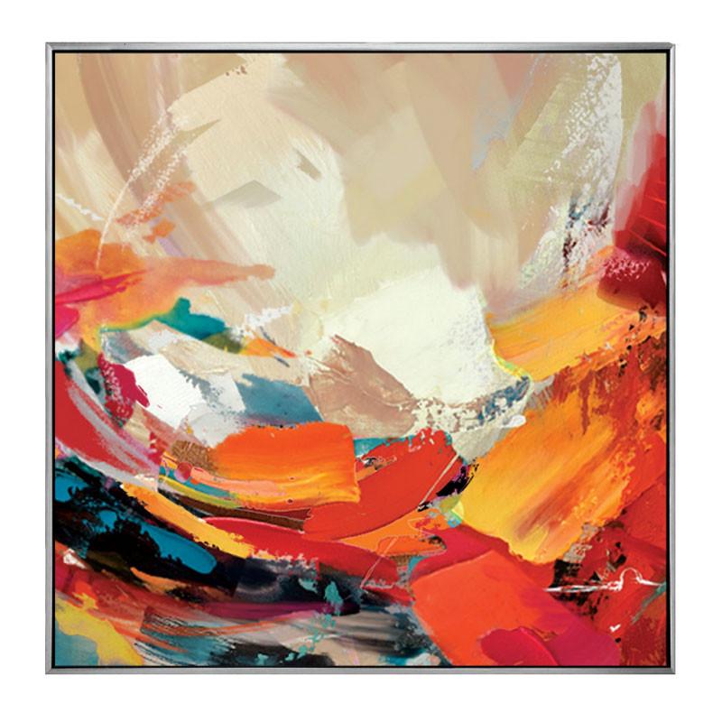 tableau contemporain abstrait vague de couleurs toile peinte 60x60