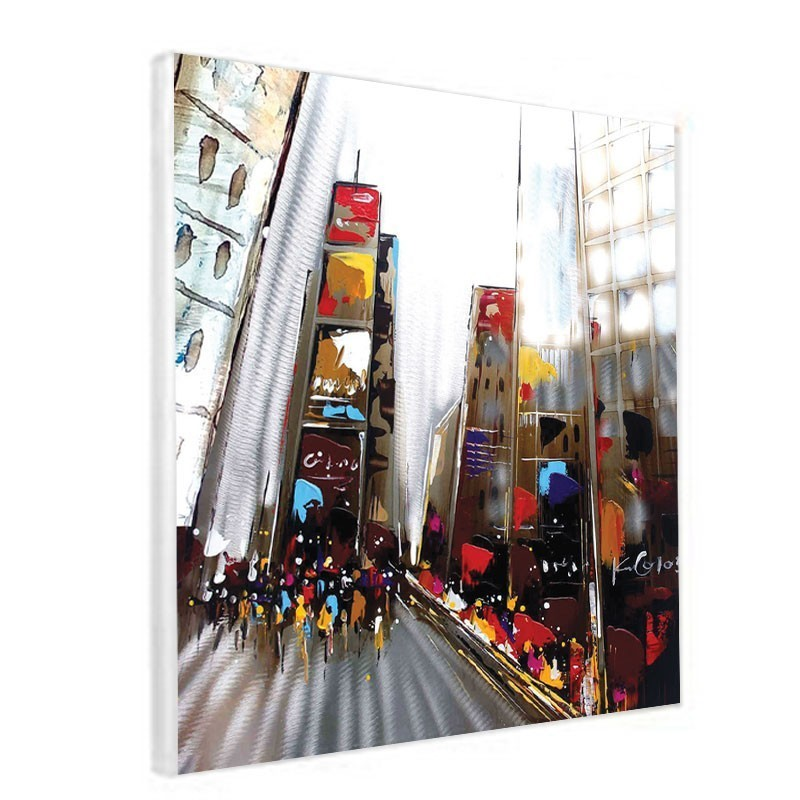 tableau contemporain design 60x60 urbain new york effet alu brosse