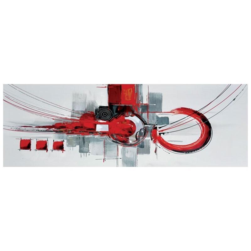 Tableau Contemporain Abstrait Gris Rouge Et Noir Avec Ajout De Metal