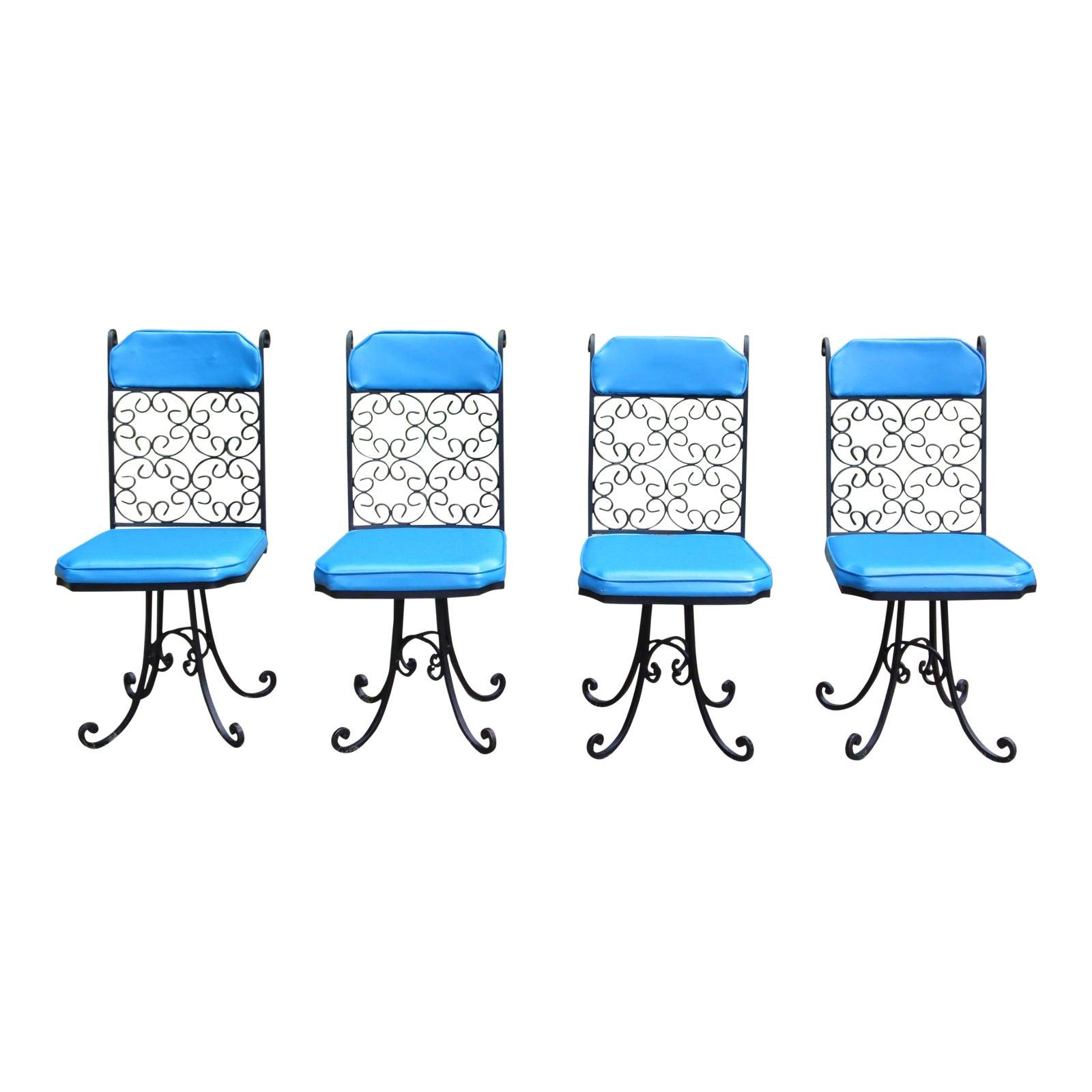 Vintage Set Of 4 Mid Century Modern Antarenni Wrought Iron Patio Dining Chairs