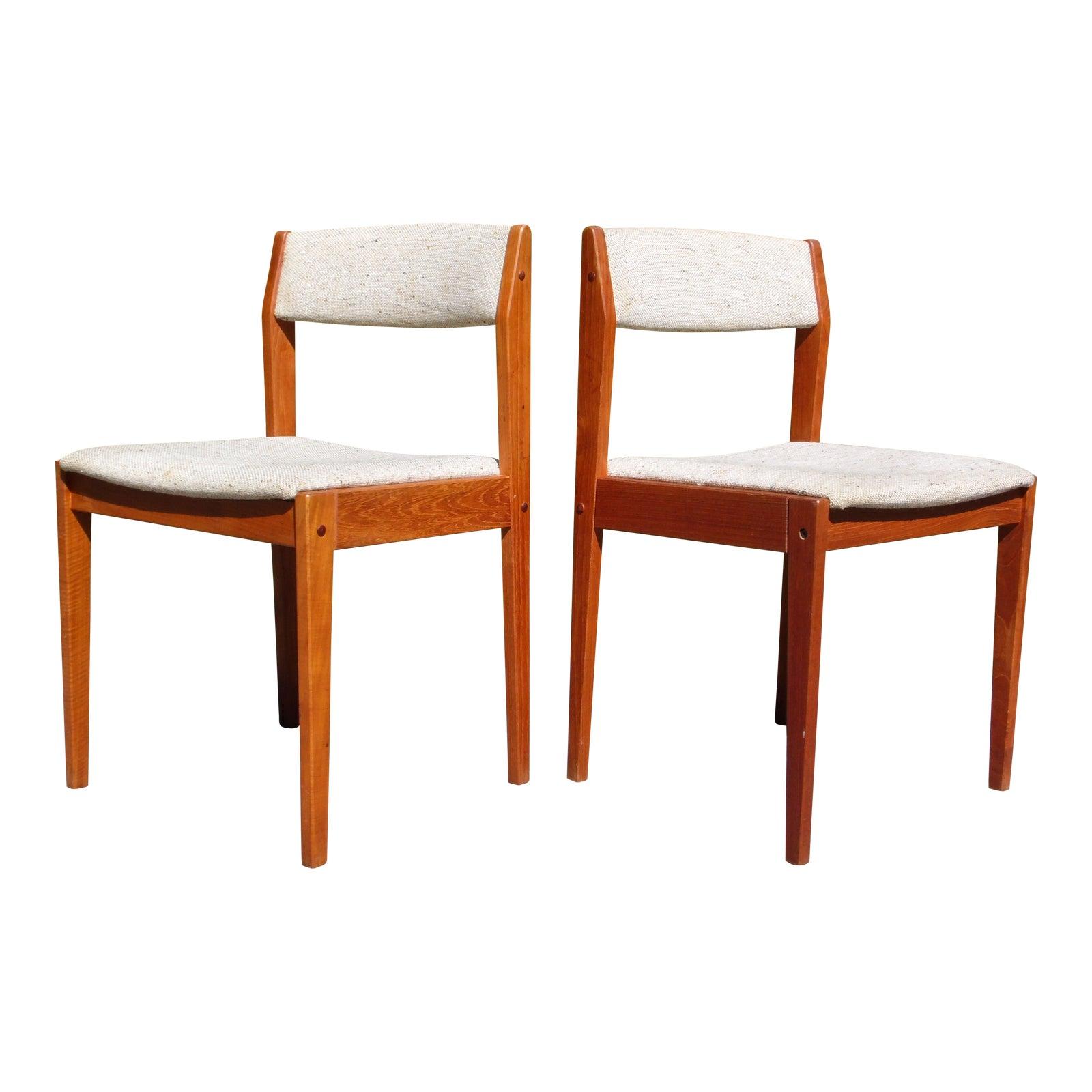 Vintage Pair Danish Modern Teak Dining Chairs Tarm Stole Denmark