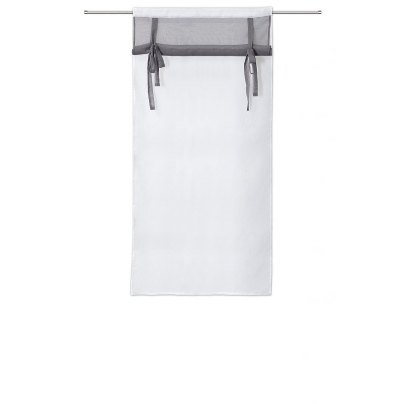 vitrage 80 x 160 cm a passe tringle mat store enrouleur blanc gris