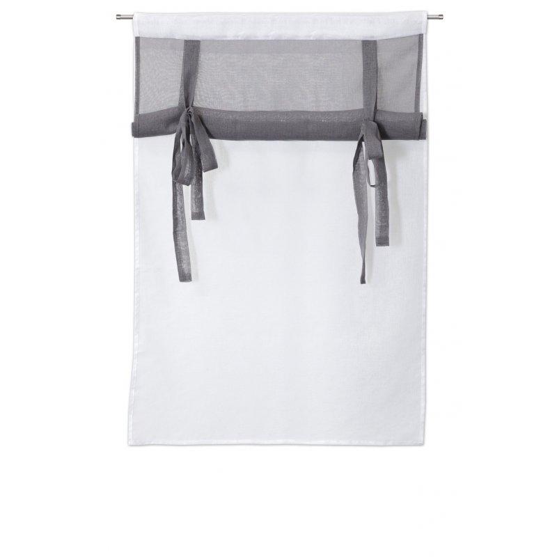 paire de vitrages 2 x 60 x 90 cm a passe tringle mat store enrouleur blanc gris