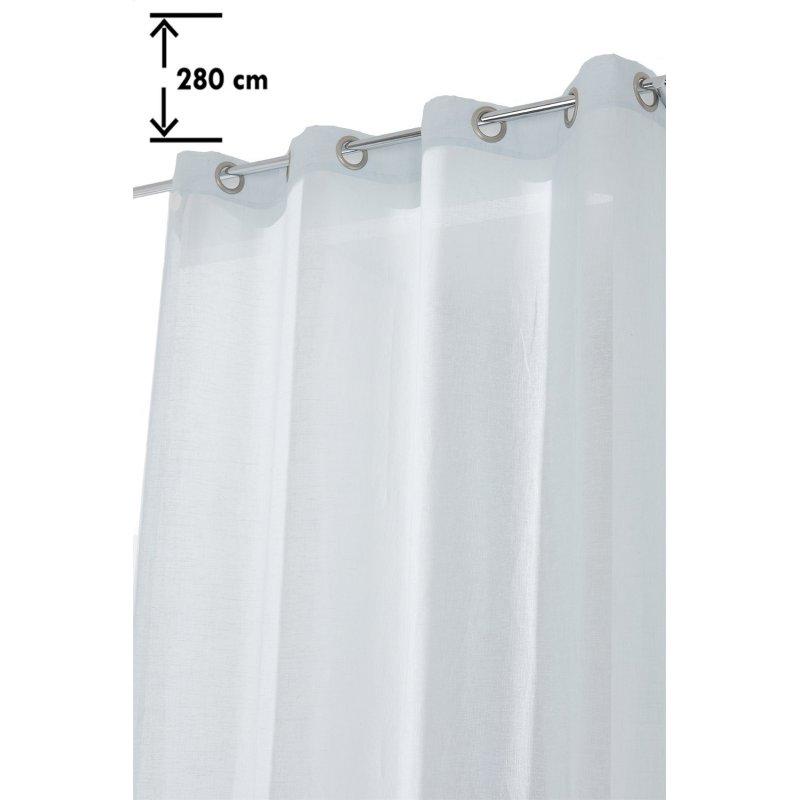 voilage 140 x 280 cm a oeillets grande hauteur classique simple effet lin uni bleu clair