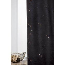 rideau tamisant 140 x 260 cm a oeillets suedine imprime triangles dores noir