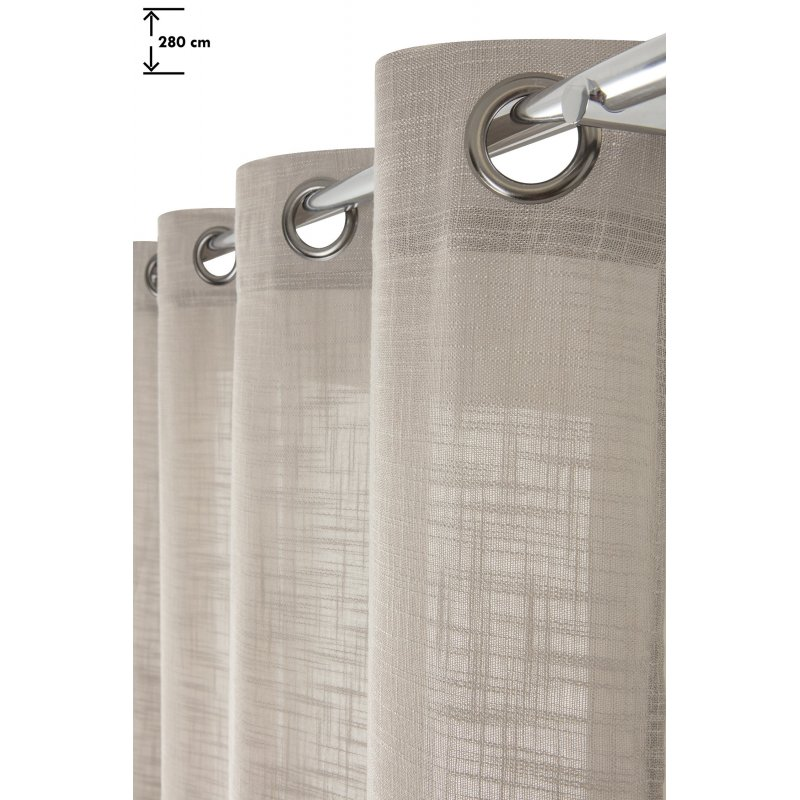 rideau tamisant 140 x 280 cm a oeillets grande hauteur effet lin trame uni argile