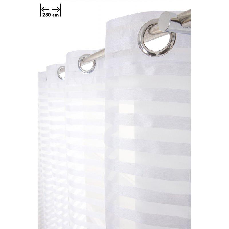 voilage 280 x 160 cm a oeillets grande largeur rayures horizontales bandes aspect soie blanc