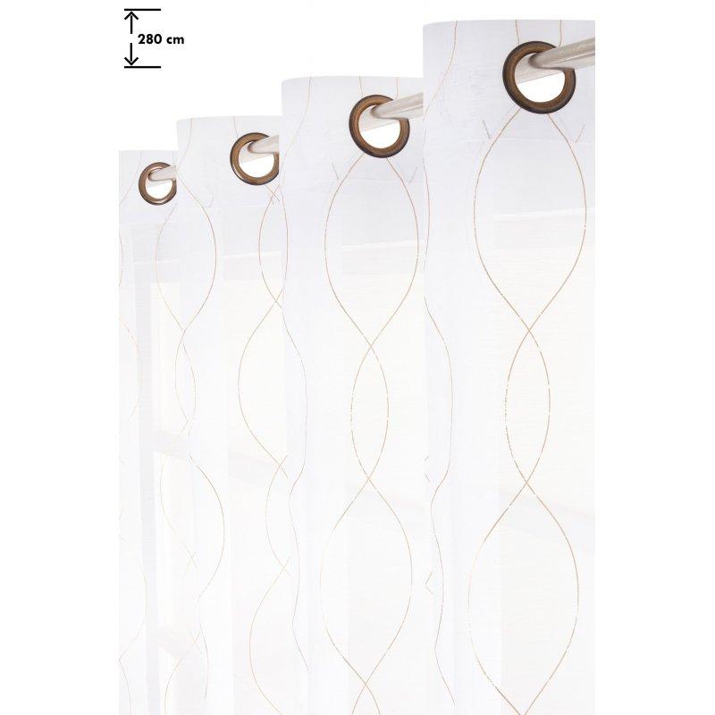 voilage 140 x 280 cm a oeillets grande hauteur impression or blanc