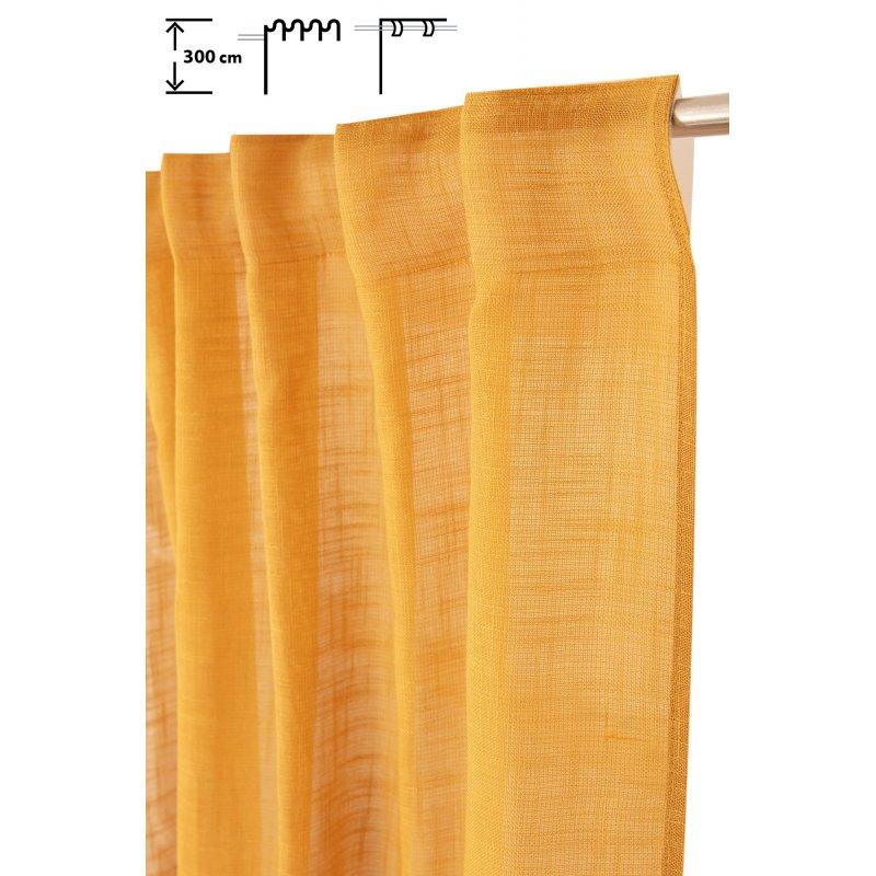 rideau tamisant 135 x 300 cm a galon fronceur et pattes cachees grande hauteur effet lin uni moutarde