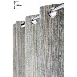 rideau grande hauteur 135 x 280 cm a oeillets velours chenille a fines lignes tissees verticales beige bleu vert