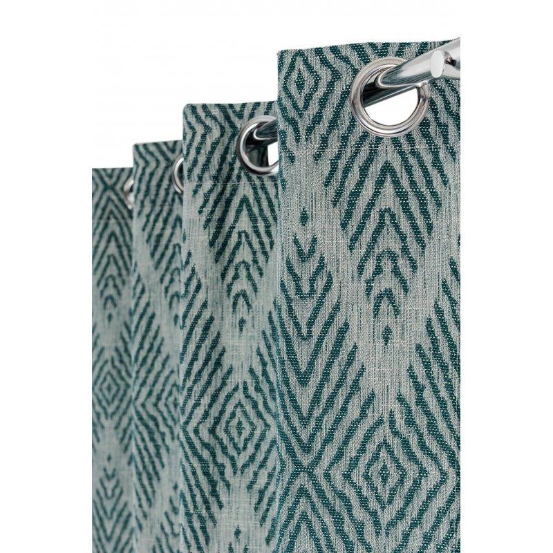rideau 140 x 235 cm a oeillets jacquard effet naturel motifs losanges vert
