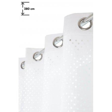 rideau 140 x 280 cm a oeillets grande hauteur ajoure motif lasercut uni blanc