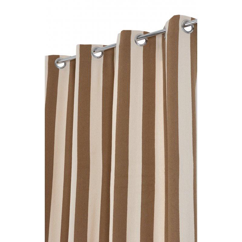 rideau 140 x 260 cm a oeillets jacquard style marin tissu lourd a rayures verticales bicolores ecru brun