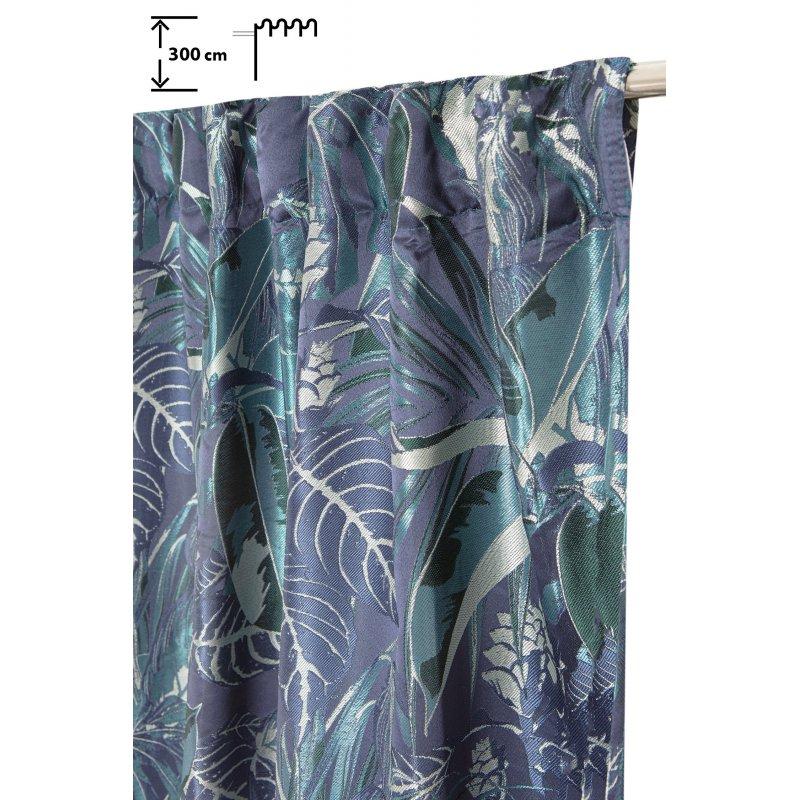 rideau tamisant 140 x 300 cm a galon fronceur pattes cachees jacquard motif vegetal bleu vert