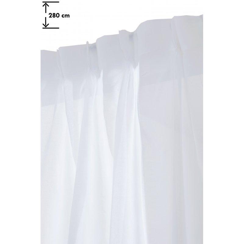 voilage 140 x 280 cm a pattes cachees grande hauteur tete flamande blanc