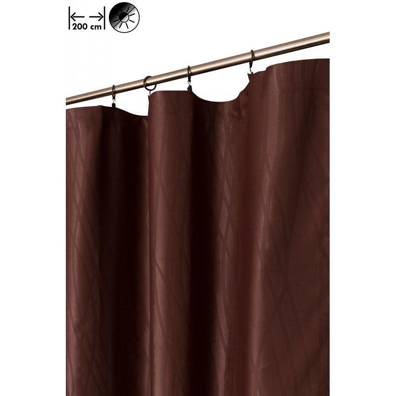 rideau occultant 200 x 270 cm a galon fronceur grande largeur motif estampille geometrique abstrait brun