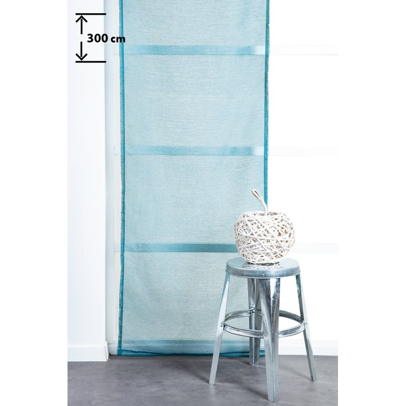 panneau japonais 60 x 300 cm a scratch grande hauteur effet lin uni bleu