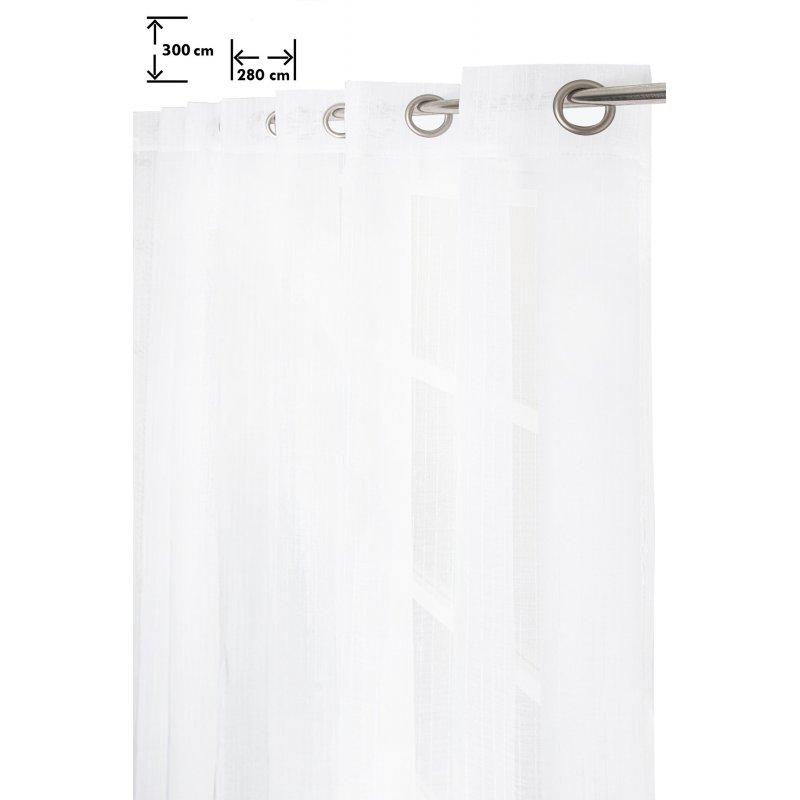 voilage 280 x 300 cm quatorze oeillets grande largeur grande hauteur effet naturel fines rayures relief blanc