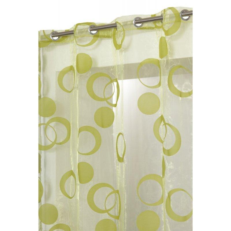 voilage 140 x 240 cm a oeillets organza motif cercles floques velours vert anis