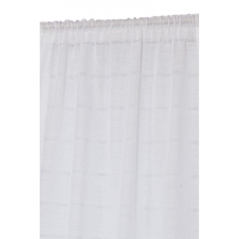 vitrage 90 x 240 cm a passe tringle effet lin blanc