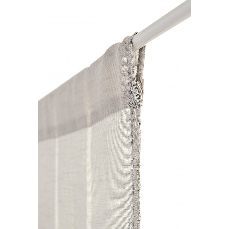 voilage vitrage 60 x 240 cm a passe tringle tissu leger effet gaze de lin a rayures verticales style naturel gris