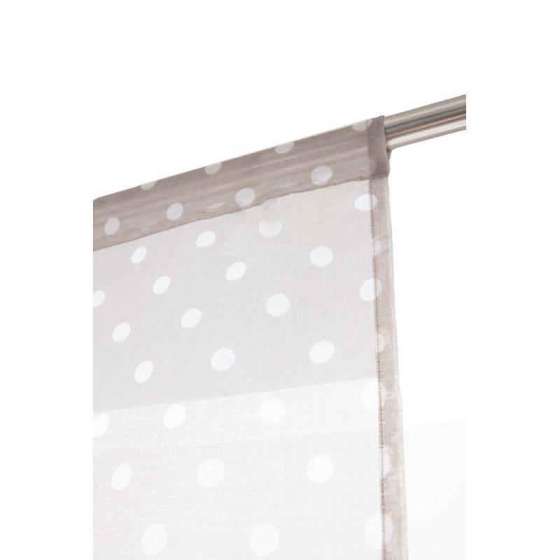 voilage vitrage 80 x 160 cm a passe tringle effet lin motif pois imprimes gris