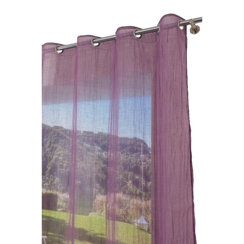 voilage 130 x 240 cm a oeillets mat effet plisse violet mauve