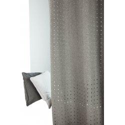 rideau contemporain a œillets 140 x 260 cm style industriel aspect tissu feutre motif a pois decoupe gris