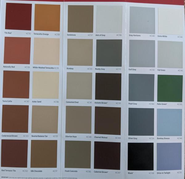 Decorative Concrete Services Color Chart for Solid Application