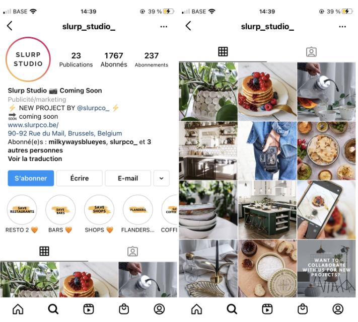 Capture d'écran Instagram slurp_studio_. Conseils de communication digitale.