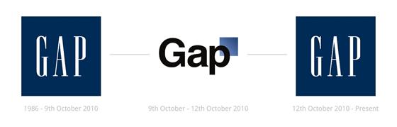 La modification du logo de Gap. De 1986 au 9 octobre 2010, il y a le logo d'origine. Du 9 au 12 octobre 2010, on a le nouveau logo. À partir du 12 octobre 2010, on est revenu sur le logo originel.