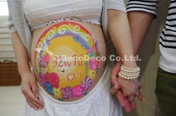 「お花と虹と赤ちゃん」マタニティペイント