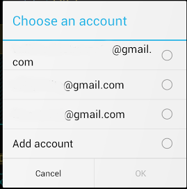 Selecting an account to bind to, so not defaulted as account used during signup