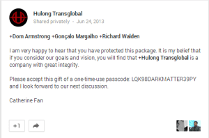 Hulong wants the package