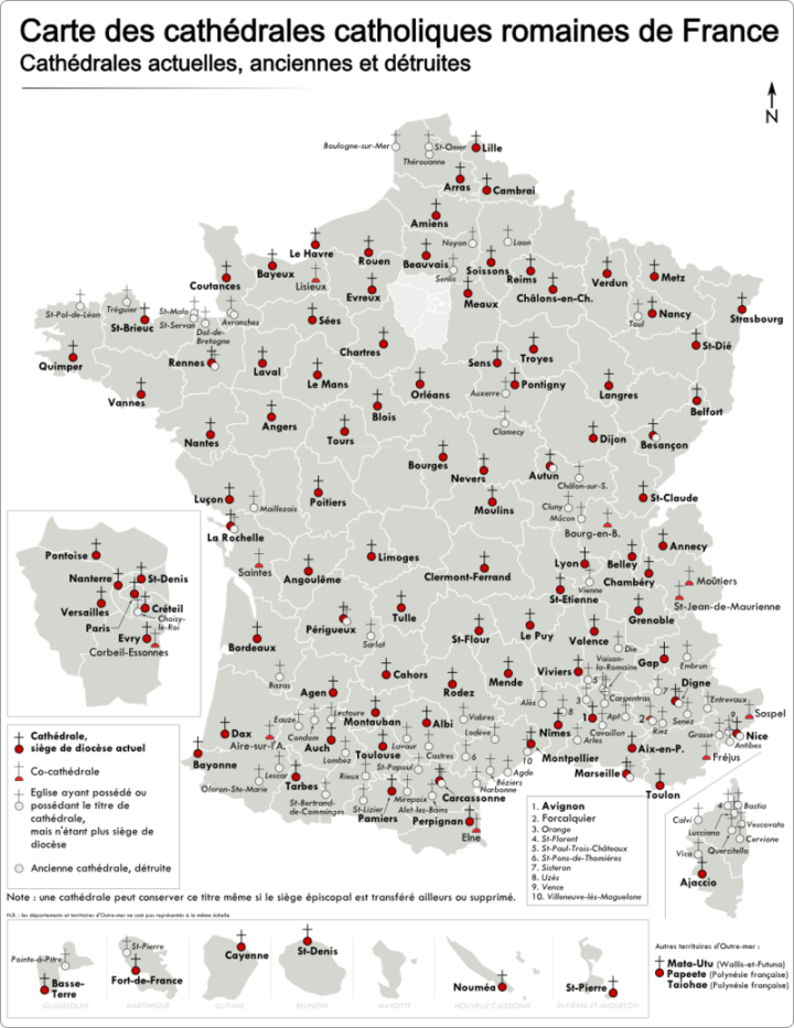 Carte des cathédrales en France