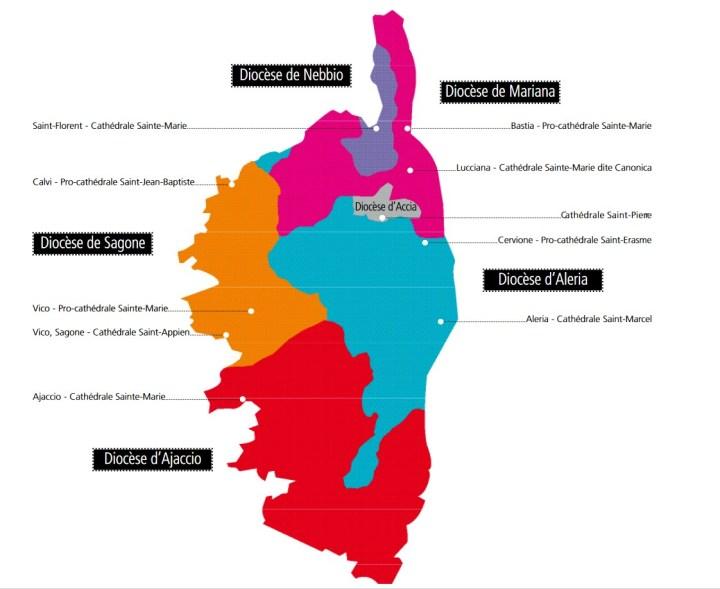 Carte des diocèses corses